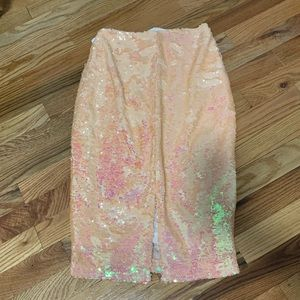 Misguided Blush Pink Florescent Pencil Skirt